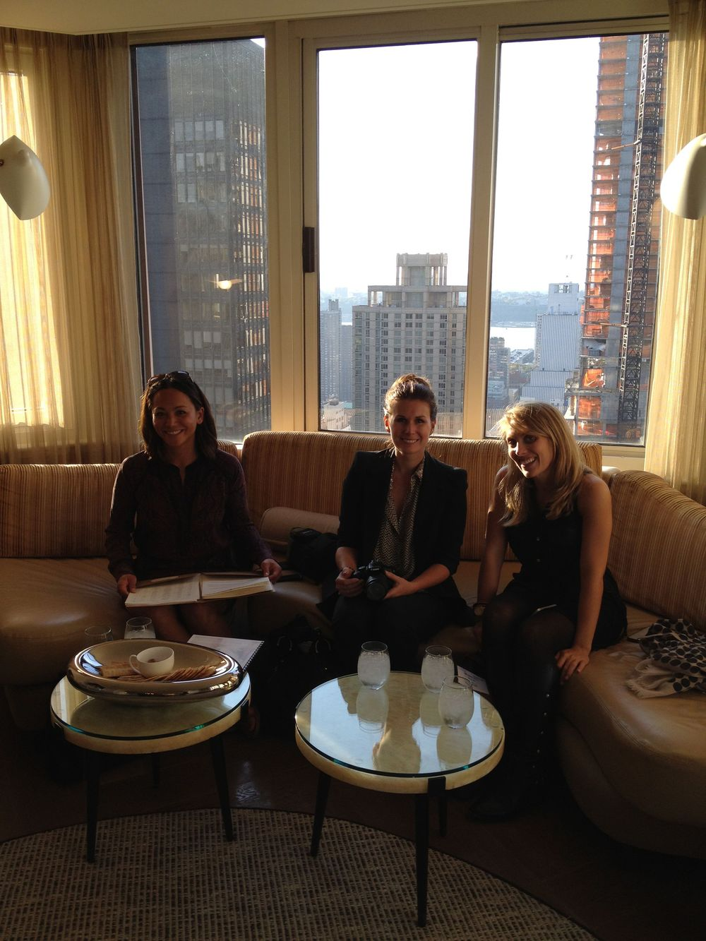 Anna, Chelsea, and Melissa wait for our Amy Kuschel appointment to begin in The London hotel