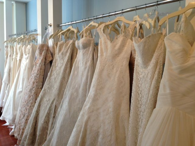 At the Modern Trousseau showroom we lined up all the gowns we liked  - so many!