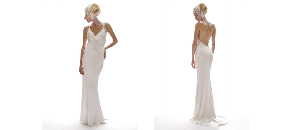We get asked all of the time for a dress with a dramatic back.  Pretty stunning, right?