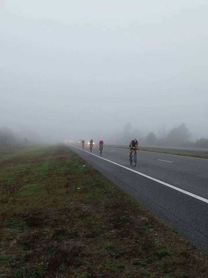 leading the group through the fog