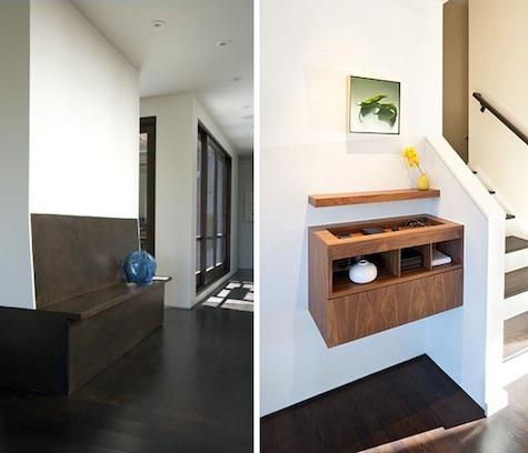 """An entryway in a San Francisco flat by  J. Weiss Design  features a built-in storage bench. Above R: In another  J. Weiss Design  project, a custom wall unit provides storage for incidentals.""    Original Story 