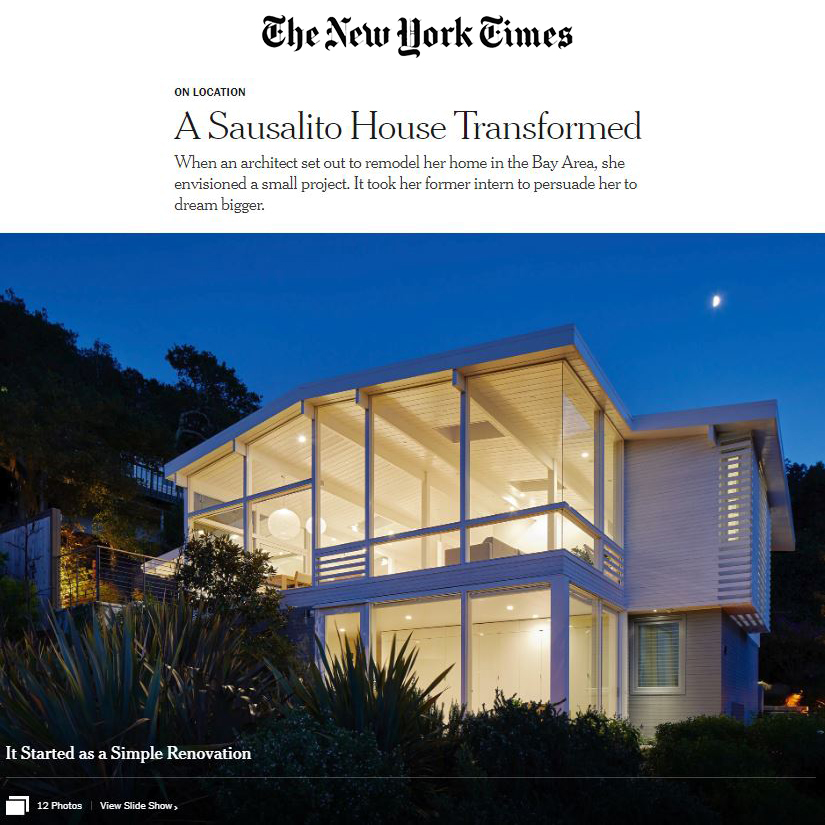 "The New York Times - ""When an architect set out to remodel her home in the Bay Area, she envisioned a small project. It took her former intern to persuade her to dream bigger.""…read more"