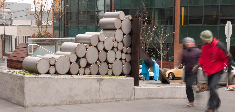 Jenny Heishman,  Woodpile  (2012), corner of Boren and Thomas Streets