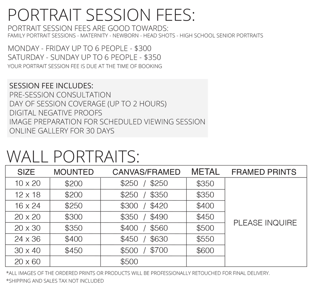 Portrait Session Fee