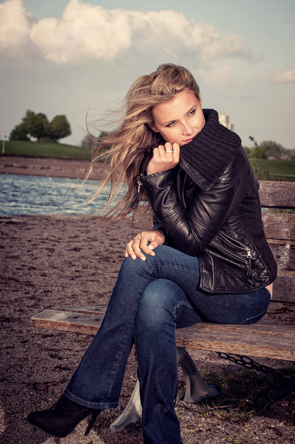 Hamilton Toronto Fashion Photographer -  Lakeside Bench by Marek Michalek.jpg