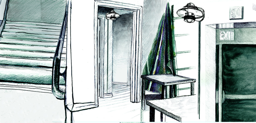A composite of observation drawings of interior spaces.
