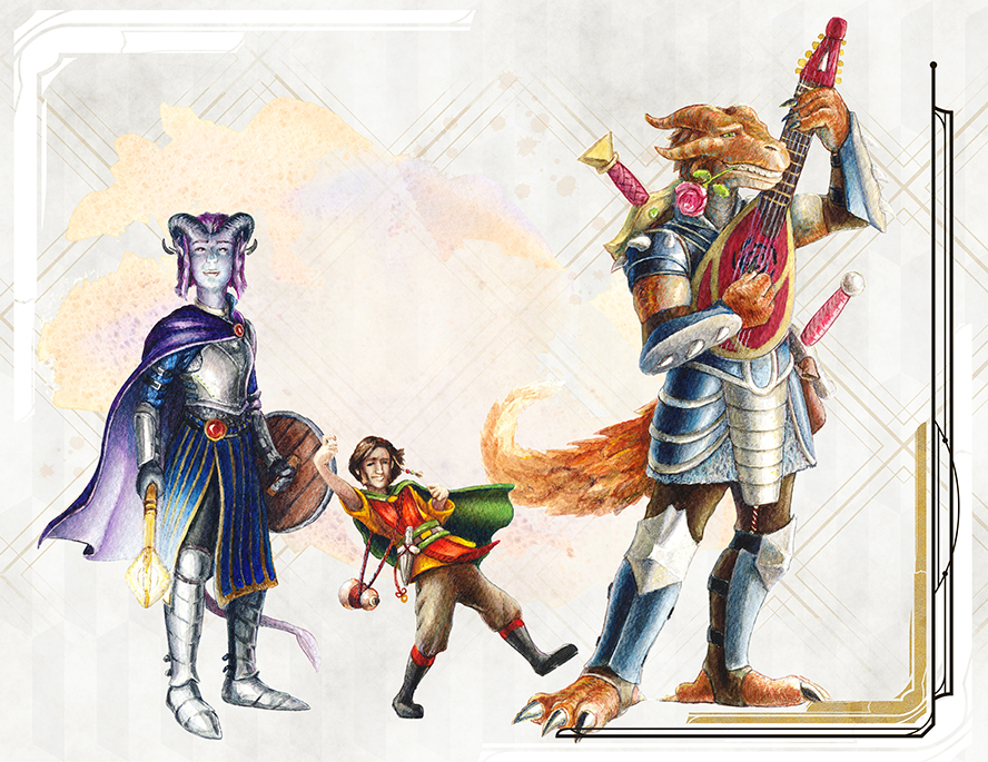 Nakis -Tiefling Paladin: Oath of Redemption  Brother Odie - Halfling Monk: Drunken Master   Krag - Dragonborn Bard: College of Valor