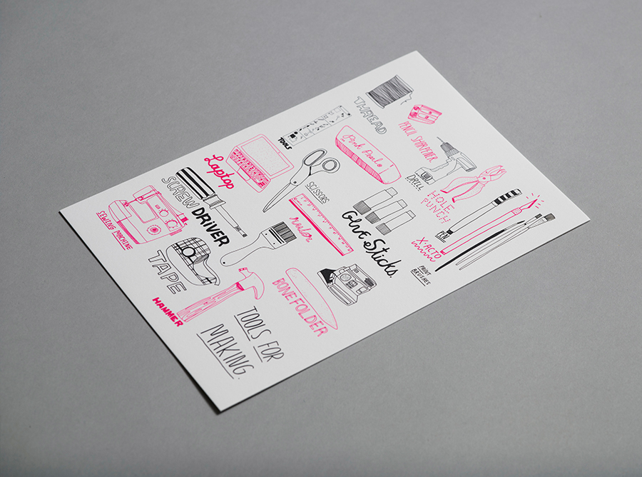 "Kate Bingaman-Burt's ""Tools for Making"" is a fluorescent pink and black on cotton stock."