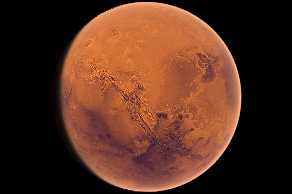 A shot of Mars from  Welcome to the Universe .