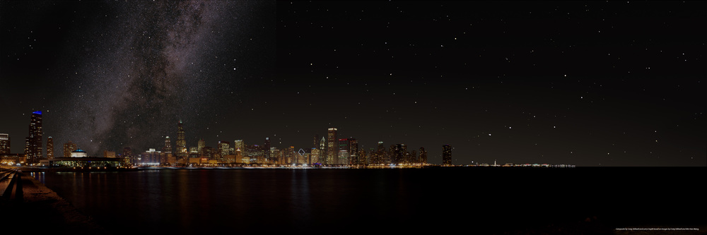 (Figure 3) The Chicago sky as it could be without light pollution showing the Milky Way and numerous stars. Composite image by Adler photographer, Craig Stillwell, and Adler astronomer, Larry Ciupik, based on images by Craig Stillwell and Wei-Hao Wang .