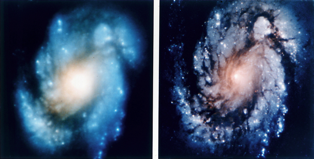 (Figure 1 ) Hubble image of spiral galaxy M100 before (left) and after (right) the first servicing  mission.