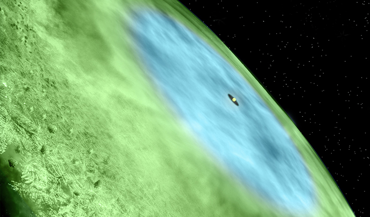Artist's conception of the snow line in TW Hydrae. Image Credit: Bill Saxton/Alexandra Angelich, NRAO/AUI/NSF