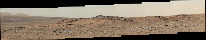 This scene combines seven images from the telephoto-lens camera on the right side of the Mast Camera (Mastcam) instrument on NASA's Mars rover Curiosity. Image Credit: NASA/JPL-Caltech/Malin Space Science Systems