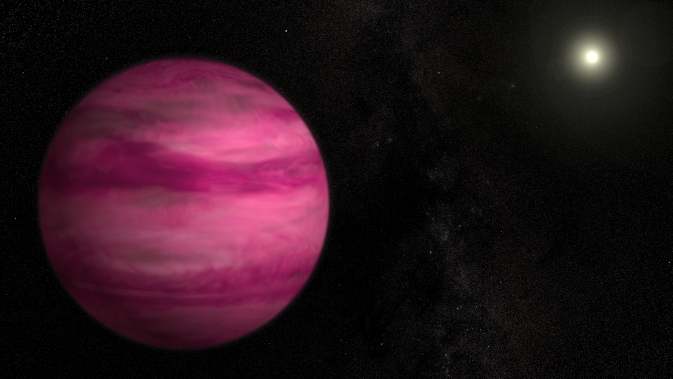 Glowing a dark magenta, the newly discovered exoplanet GJ 504b weighs in with about four times Jupiter's mass, making it the lowest-mass planet ever directly imaged around a star like the sun. Image Credit: NASA's Goddard Space Flight Center/S. Wiessinger