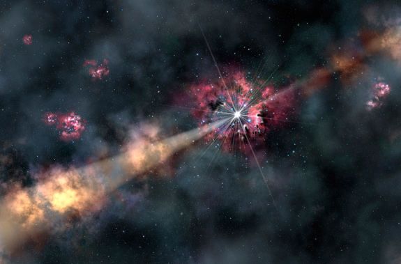 This artist's illustration depicts a gamma-ray burst illuminating clouds of interstellar gas in its host galaxy. By analyzing a recent gamma-ray burst, astronomers were able to learn about the chemistry of a galaxy 12.7 billion light-years from Earth. They discovered it contains only one-tenth of the heavy elements (metals) found in our solar system. Image Credit: Gemini Observatory/AURA, artwork by Lynette Cook