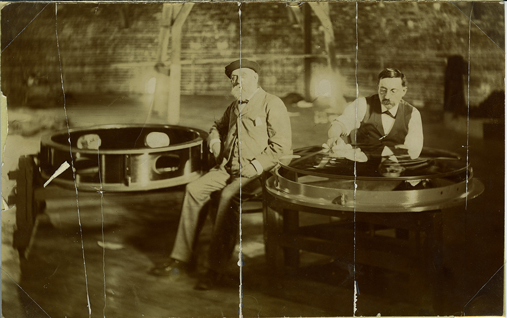 Believed to be Alvan G. Clark (left) and Carl Lundin (right) with 40 inch objective lens.