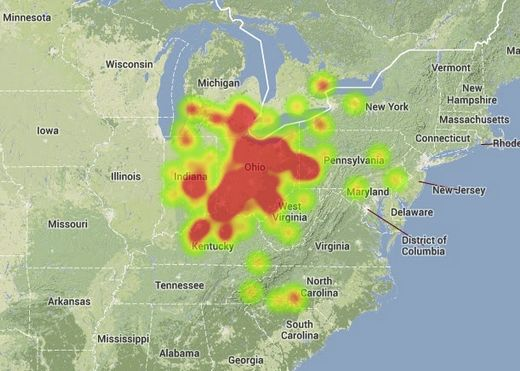 Heat map of the September 27, 2013 fireball sightings.  Image Credit: American Meteor Society