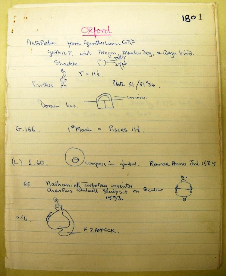 A page from Derek de Solla Price's astrolabes notebook. Derek J. De Solla Price Papers, Adler Planetarium.