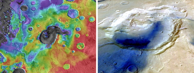 New research suggests a volcano, not a large impact, may have formed Mars' Eden Patera basin. Left: Reds, yellows show higher elevations in the basin and surrounding area; blues, grays show lower elevations. Right: The dark color indicates younger material draped across the Eden Patera depression. Image Credit: NASA/JPL/Goddard (left) and ESA (right)