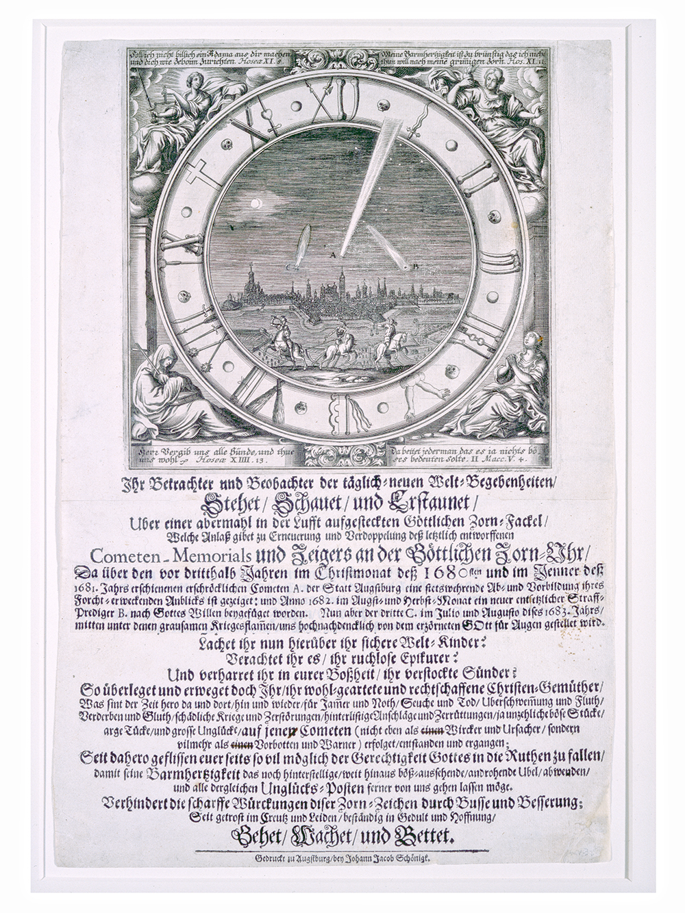 Comet broadside by Johann Jacob Schoenigk. Augsburg, Germany, 1683 (Adler Collection, P-3).