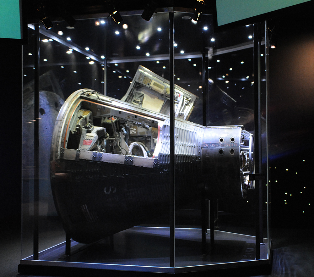 The Gemini 12 capsule on display in Shoot for the Moon at the Adler.