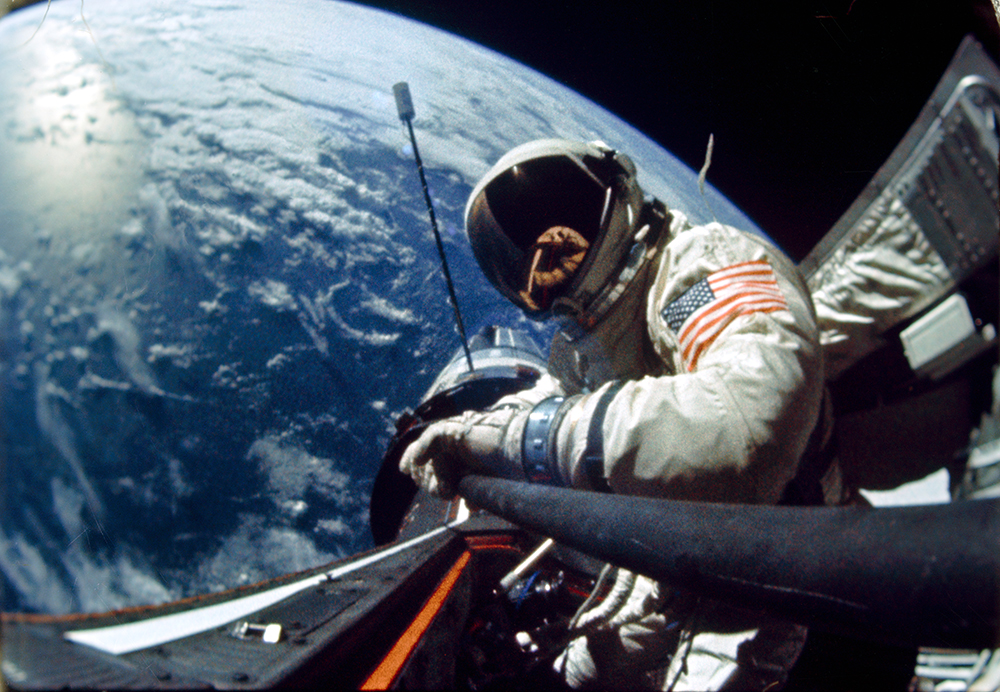 Astronaut Edwin E. Aldrin, Jr., pilot of the Gemini 12 spaceflight, performs standup extravehicular activity during the first day of the 4-day mission in space. Image from DVIDS, courtesy of NASA. NASA identifier: S66-63536.