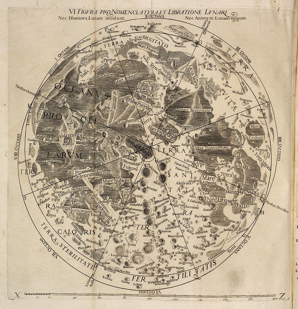"Giovanni Battista Riccioli (1598–1671) and Francesco Grimaldi (1618–1663), ""Figura Pro Nomenclatura et Libratione Lunari"" from Almagestum novum. Bologna: Heirs of Victorio Benati, 1651 (Adler Planetarium Collection, QB16 .R53 1651 v. 1)."