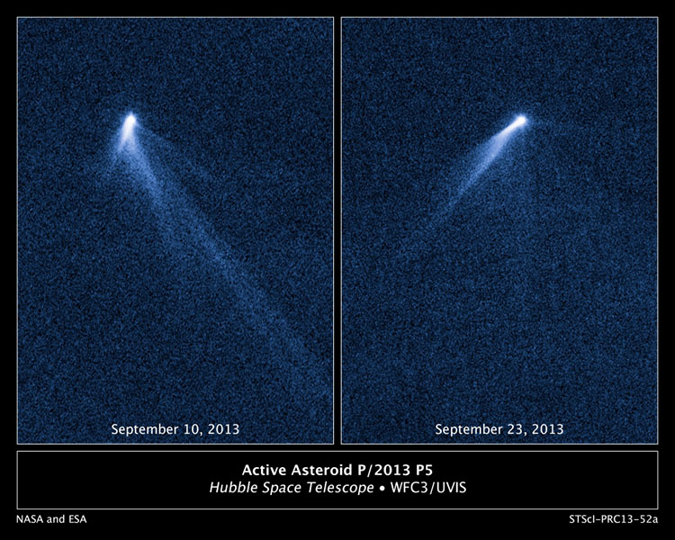 This NASA Hubble Space Telescope set of images reveals a never-before-seen set of six comet-like tails radiating from a body in the asteroid belt, designated P/2013 P5. Image Credit: NASA, ESA, and D. Jewitt (UCLA)