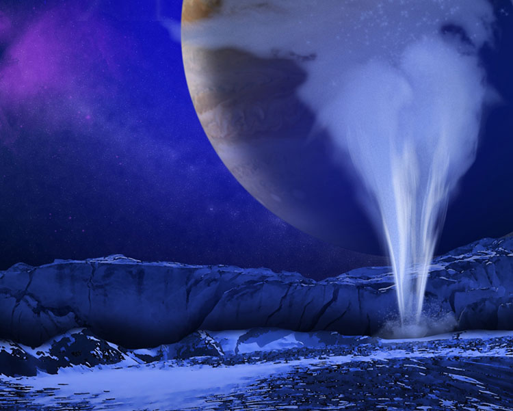 This is an artist's concept of a plume of water vapor thought to be ejected off the frigid, icy surface of the Jovian moon Europa, located about 500 million miles (800 million kilometers) from the sun. Image Credit: NASA/ESA/K. Retherford/SWRI