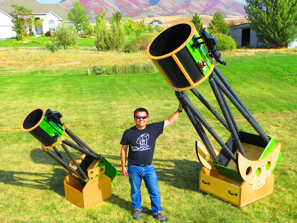 Dr. Shane L. Larson and his two Dobsonian telescopes.