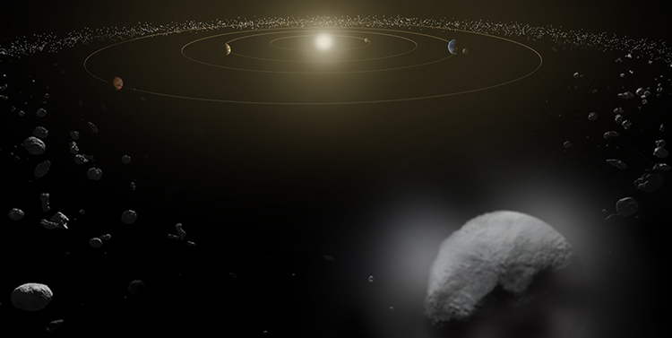 Dwarf planet Ceres is located in the main asteroid belt, between the orbits of Mars and Jupiter, as illustrated in this artist's conception. Image Credit: ESA/ATG medialab