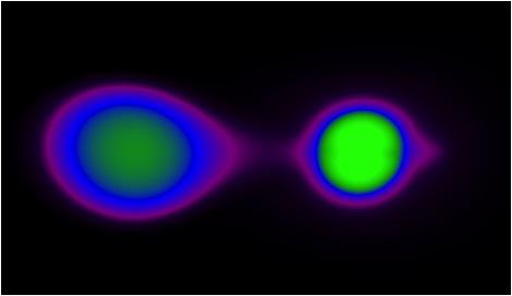 The so called double degenerate scenario: two orbiting white dwarf stars inspiral and merge triggering the supernova detonation. Simulation from Pablo Loren-Aguilar and Enrique Garcia-Berro. Visualization by Mark SubbaRao.