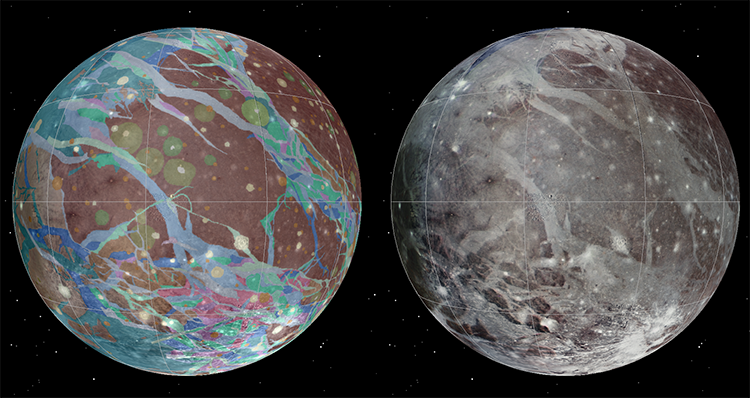 To present the best information in a single view of Jupiter's moon Ganymede, a global image mosaic was assembled, incorporating the best available imagery from NASA's Voyager 1 and 2 spacecraft and NASA's Galileo spacecraft. Image Credit: USGS Astrogeology Science Center/Wheaton/NASA/JPL-Caltech