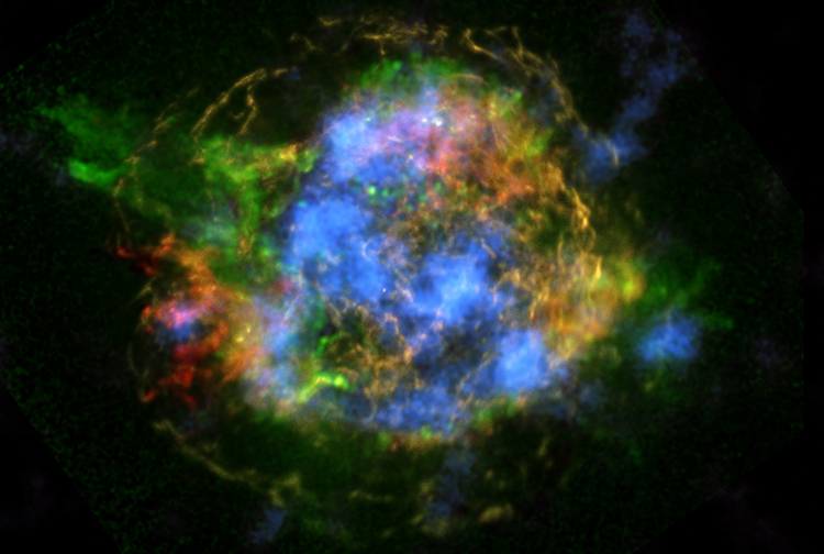 This is the first map of radioactivity in a supernova remnant, the blown-out bits and pieces of a massive star that exploded. The blue color shows radioactive material mapped in high-energy X-rays using NuSTAR. Image Credit: NASA/JPL-Caltech/CXC/SAO
