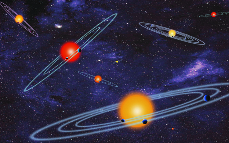 The artist concept depicts multiple-transiting planet systems, which are stars with more than one planet. The planets eclipse or transit their host star from the vantage point of the observer. This angle is called edge-on. Image Credit: NASA