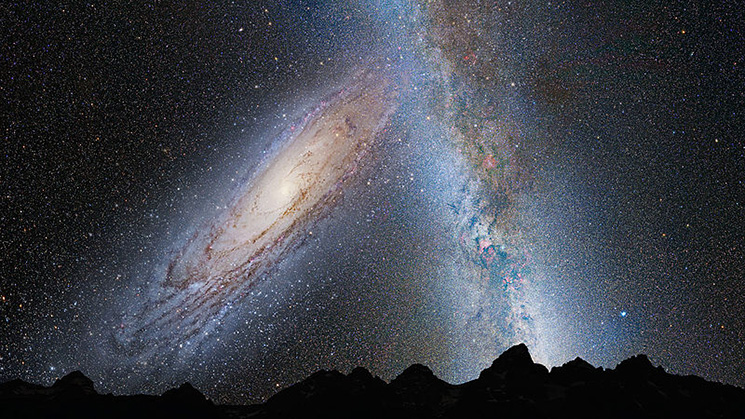 In this image, representing Earth's night sky in 3.75 billion years, Andromeda (left) fills the field of view and begins to distort the Milky Way with tidal pull. Image Credit: NASA; ESA; Z. Levay and R. van der Marel, STScI; T. Hallas; and A. Mellinger