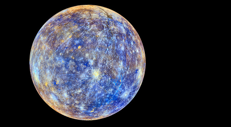 This colorful view of Mercury was produced by using images from the color base map imaging campaign during Messenger's primary mission. These colors are not what Mercury would look like to the human eye, but rather the colors enhance the chemical, mineralogical, and physical differences between the rocks that make up Mercury's surface. Image credit: NASA/Johns Hopkins University Applied Physics Laboratory/Carnegie Institution of Washington