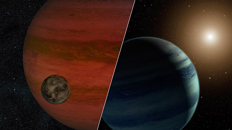 "Researchers have detected the first ""exomoon"" candidate -- a moon orbiting a planet that lies outside our solar system. Using a technique called ""microlensing,"" they observed what could be either a moon and a planet -- or a planet and a star. This artist's conception depicts the two possibilities. Image Credit: NASA/JPL-Caltech"