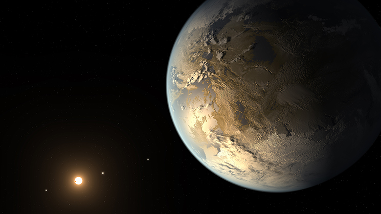 The artist's concept depicts Kepler-186f , the first validated Earth-size planet to orbit a distant star in the habitable zone.  Image Credit: NASA Ames/SETI Institute/JPL-Caltech