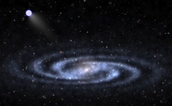 "An astrophysicist-artist's conception of a hypervelocity star speeding away from the visible part of a spiral galaxy like our Milky Way and into the invisible halo of mysterious ""dark matter"" that surrounds the galaxy's visible portions. Image credit: Ben Bromley, University of Utah"