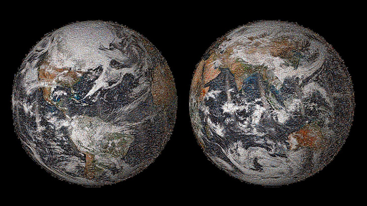 "The 3.2 gigapixel Global Selfie mosaic, hosted by GigaPan, was made with 36,422 individual images that were posted to social media sites on or around Earth Day, April 22, 2014. When viewing on GigaPan's website, clicking on the ""Snapshots"" icon in the lower-left corner will display a row of highlighted images. Image credit: NASA"