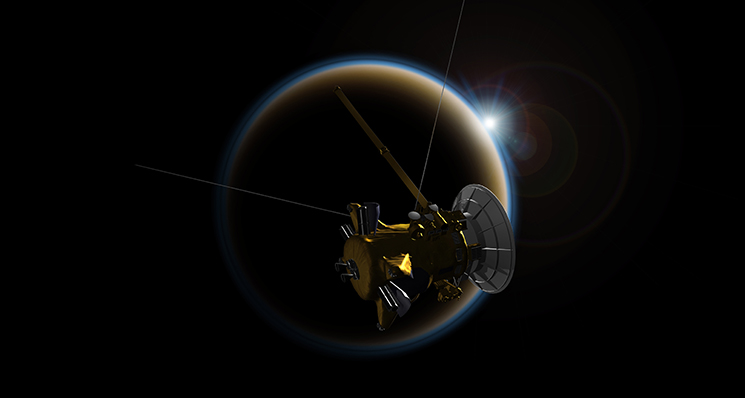 Artist's rendering of NASA's Cassini spacecraft observing a sunset through Titan's hazy atmosphere. Image Credit: NASA/JPL-Caltech