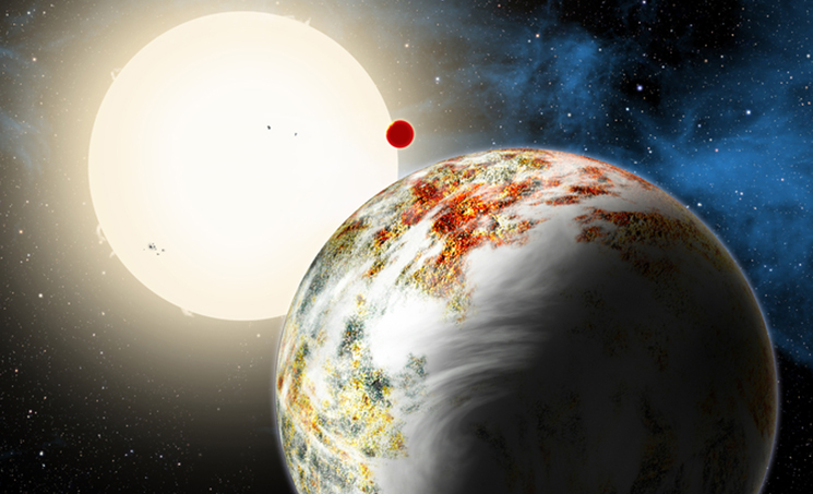 An artist concept shows the Kepler-10 system, home to two rocky planets. In the foreground is Kepler-10c, a planet that weighs 17 times as much as Earth and is more than twice as large in size. This discovery has planet formation theorists challenged to explain how such a world could have formed. Image Credit: Harvard-Smithsonian Center for Astrophysics/David Aguilar