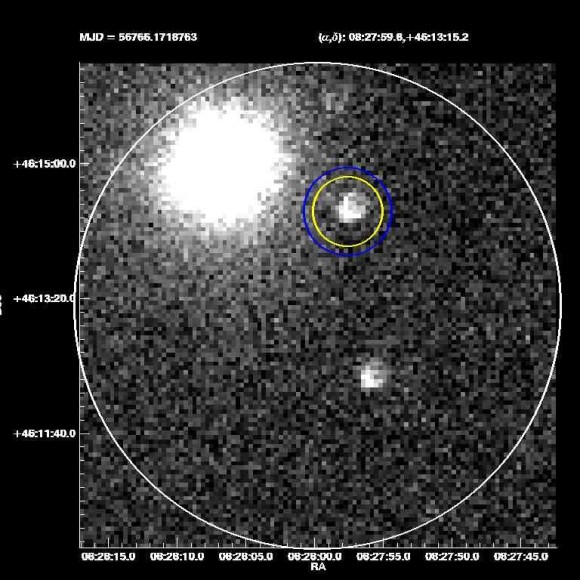 Gamma-ray burst 1404191 was spotted at 11 p.m. April 19 by SMU's robotic ROTSE-IIIb telescope at McDonald Observatory, Fort Davis, Texas. Image courtesy of Southern Methodist University