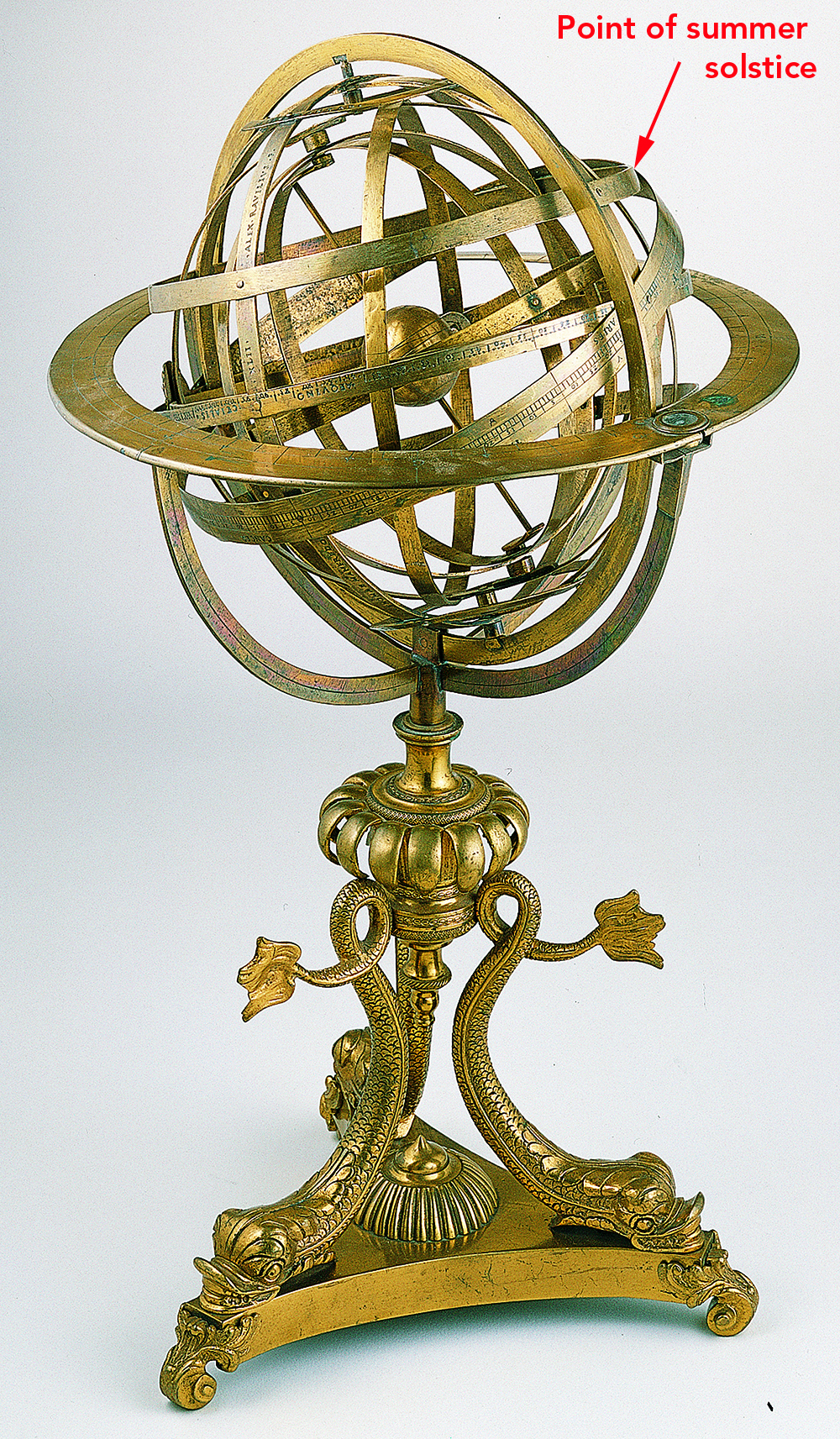 Figure 1:On an armillary sphere, the summer solstice is the place in the zodiac band that is farthest north of the ring or band representing the celestial equator.