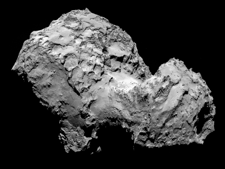 Comet 67P/Churyumov-Gerasimenko by Rosetta's OSIRIS narrow-angle camera on August 3, 2014, from a distance of 177 miles (285 kilometers). Image Credit: ESA/Rosetta/MPS for OSIRIS Team MPS/UPD/LAM/IAA/SSO/INTA/UPM