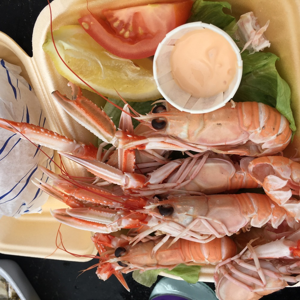 Langoustines: Like crawdads, but bigger. Like lobster, but smaller. And they call them prawns.