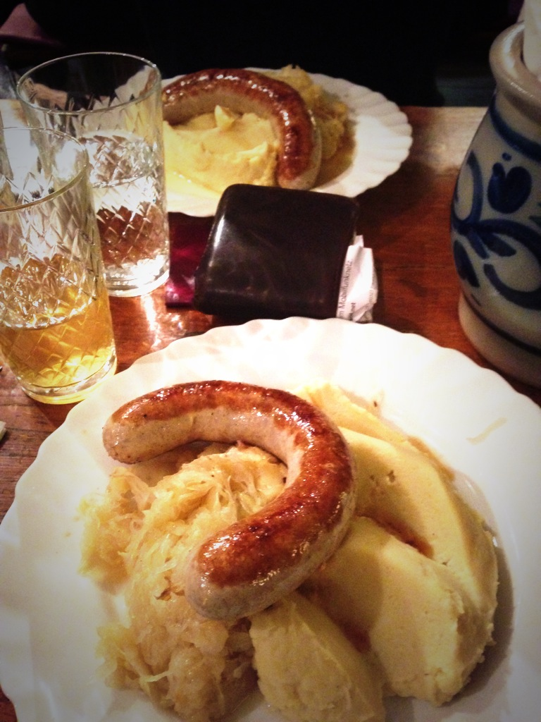Sausages & Apple wine.