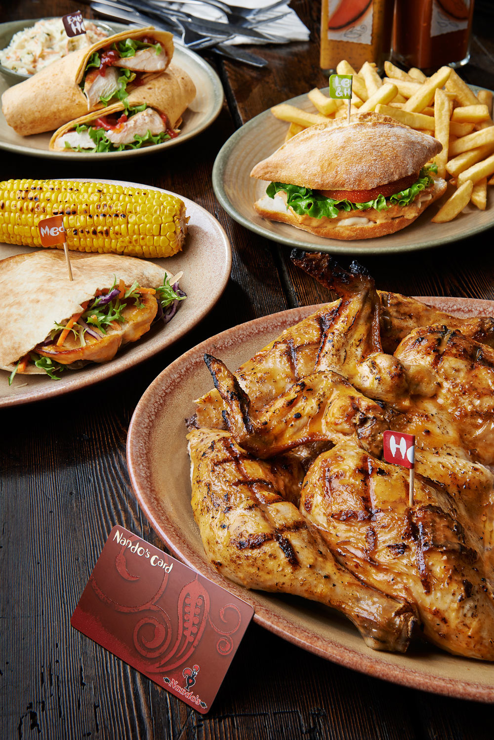 nando nando's nando chicken restaurant food photography food photographer london uk still life restaurants press pr advertising editorial design social media twitter Facebook platter card whole chicken coleslaw wrap pitta breast corn on the cob sweetcorn sweet burger tomato lettuce sauce