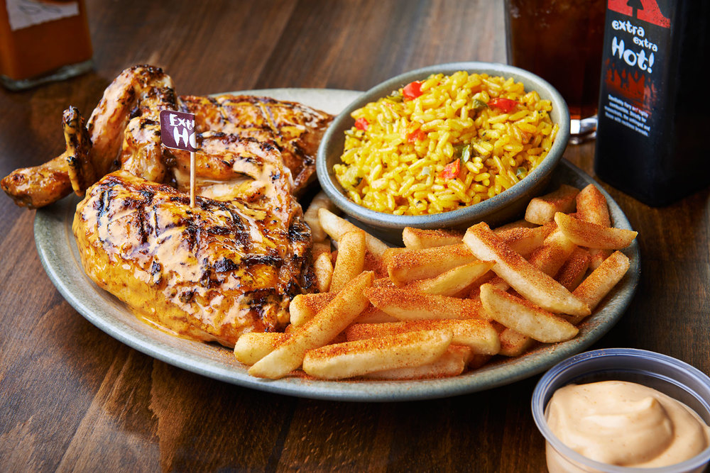 nando nando's nando chicken restaurant food photography food photographer london uk still life restaurants press pr advertising editorial design social media twitter Facebook chips peri peri spicy rice extra hot sauce pepper drizzled grilled tabletop table